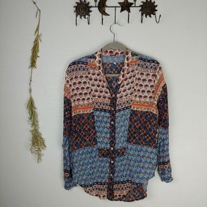 Free People Boho Patchwork Button Tunic
